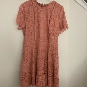 Coral color Mock Neck Scalloped Lace Dress